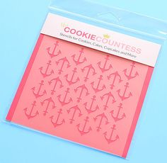 Use the anchor cookie stencil to decorate cookies, chocolate covered Oreos, fondant cupcake toppers and more! Stencil on the designs with royal icing, airbrushing or even our edible food paint powders