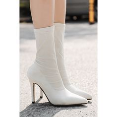 White Pointed Toe Stiletto Heel Mid Calf Sock Boots (12 KWD) ❤ liked on Polyvore featuring shoes, boots, white pointed toe flats, white pointed flats, white stiletto boots, sock boots and mid calf boots