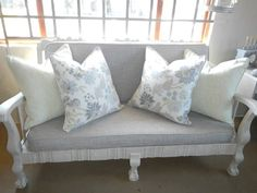 Beautiful scatters with a Stuart Graham fabric Sofa Makeover, Furniture Makeover, Diy Furniture, Furniture Design, Painted Couch, Painted Furniture, Reclaimed Furniture, Vintage Furniture, Wooden Couch