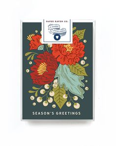 Holiday Card Box Set of 5 - Christmas Card - Festive Floral Holiday Floral Card