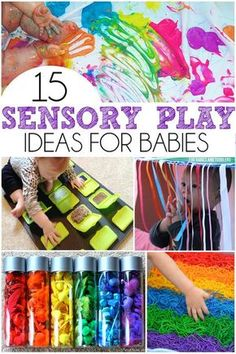 15 Sensory Play Ideas For Babies - Includes a ton of easy taste safe recipes, upcycled sensory boards, and sensory bottles! 15 Sensory Play Ideas For Babies - Includes a ton of easy taste safe recipes, upcycled sensory boards, and sensory bottles! Baby Sensory Play, Baby Play, Baby Sensory Bags, Baby Sensory Bottles, Sensory Bins, Diy Sensory Toys For Babies, Diy Toys For Toddlers, Sensory Bottles For Toddlers, Sensory Games
