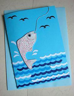 Lin Handmade Greetings Card: Pop up guy catching a fish!