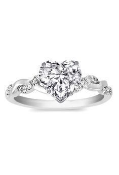 Heart Shape Diamond Petite twisted pave band Engagement Ring