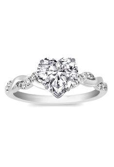 Heart Shape Diamond Petite twisted pave band Engagement Ring