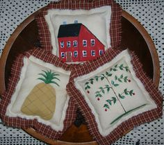Primitive Folk Art Ornies Country House Tree Pineapple Tucks by auntiemeowsprims, $8.99