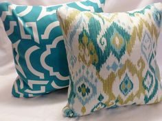 Outdoor Pillow Cover is made from Mill Creek / Raymond Waites Gunnison fabric in Grasshopper River Ikat Pillows, Modern Throw Pillows, Pillow Forms, Pillow Inserts, Teen Boy Bedding, Living Room Decor Colors, Decorative Pillow Covers, Fabric Design, Raymond Waites
