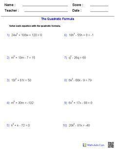 Solving Quadratic Equations With the Quadratic Formula