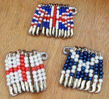 UK Beaded Flag Badges
