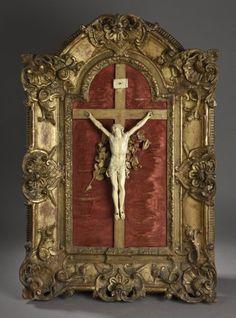 Christ en ivoire sculpté d'époque Louis XV. H. total 79 cm - Daguerre - 18/10/2015