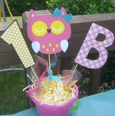 Hey, I found this really awesome Etsy listing at https://www.etsy.com/listing/203961510/owl-birthday-centerpiece-sticks-pick