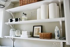 1 Facebook Twitter Pinterest E-mailMy once boring laundry room is now a bright and organized space that I can't wait to show you. If you've miss any laundry room redo posts, I started with this as the inspiration, then painted the cabinets white {that made a huge difference!} and used gift wrap as wallpaper. Next …