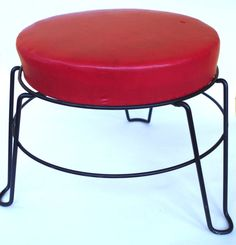 Fabulous Vintage Foot Stool Ottoman Red Vinyl by retrowarehouse
