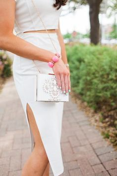 The Little White Dress l Outfit Details on blog here: http://fitnessandfrills.com/the-little-white-dress/ l Nasty Gal Dress l Jean Jacket l  Jeweled Bag l White on White l Fashion blogger