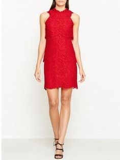 60% Off was £225.00 now £90.00 Reiss Sophia Lace Overlay Dress - Red
