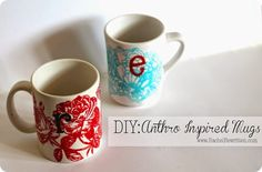 Love Anthropologie but not their prices? Check out how to make these adorable monogram mugs that would make awesome gifts!