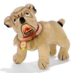 A STEIFF USA EXCLUSIVE BULLY ENGLISH BULLDOG, (1318,0K), cream mohair, black and white plastic eyes, brown and black airbrushed detail, black stitching, open felt mouth with plastic teeth, swivel head, hair collar and chest tag, 1956-58 --8½in. (21.5cm.) long