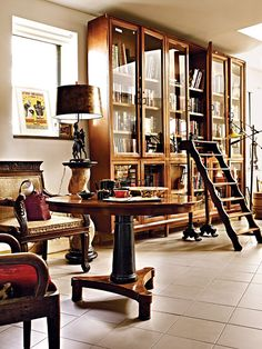 Love the bookcases and the ladder.