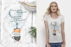 Teacups to the stars Organic Fairtrade t-shirt | Women's Tops | white shirt #tshirts #organictshirts #fairtrade #organiccotton #etsy #etsygreekstreetteam #ethicalfashion #EtsyGifts #inspiring #teacups #stars #galaxy #illustration #design #poem #fairytales