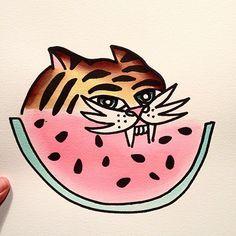 cat watermelon by Knarly Gav