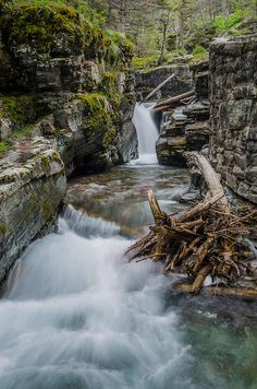 Baring Creek Waterfall and Rapids Photograph, Glacier National Park, Montana.  Photo: Greg Nyquist