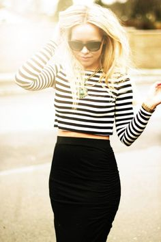 High waisted black skirt and striped crop top: modern day parisian style