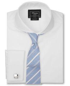 Cutaway Collar, Slim Tie, Collar Shirts, Sewing Hacks, Blue Stripes, Smart Menswear, Mens Fashion, London, Shirt Dress