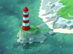 Low poly beacon on Behance