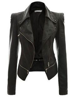 Zippers Turn-Down Collar Plus Size Jacket Women Clothing on buytrends.com