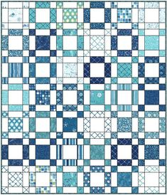 Sea of Squares tutorial.   Finished Size Approximately 51.5″ x 60″    Fabric        2 of the same charm packs in darks or prints – 84 charms total (seascape blues)      2 of the same charm packs in lights or solids – 84 charms total (solid white)      1/2 yard for the binding