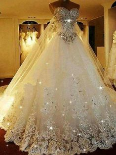 Sparkly Ball Gown Wedding Dress With Sweetheart Neckline