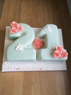 Vintage/Shabby Chic 21st Birthday Cake in soft mint green & peach
