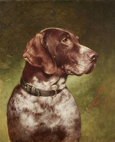Head of a German Shorthaired Pointer, 1898 -- by Carl Reichert (1836--1918, Austrian)