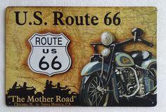 Plaque métal Route 66 20x30 cm sur fullbiker.com