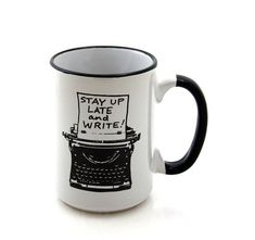 Writers Mug with Typewriter Funny Gift for Author or by LennyMud $16.00