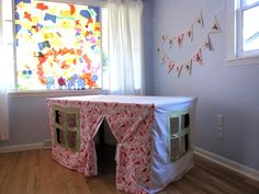 DIY Kids Playhouse under the Table - Old sheets, sew to fit a card table, windows are just cut, no hems!