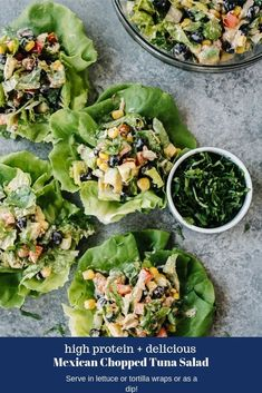 This Mexican inspired tuna salad is packed with tons of fresh veggies, tuna fish, and a creamy taco-flavored dressing. Its a delicious, light meal served in tortilla wraps, lettuce wraps or with tortilla chips! Tuna Fish Recipes, Canned Tuna Recipes, Avocado Recipes, Seafood Recipes, Mexican Food Recipes, Healthy Diet Recipes, Healthy Meals For Kids, Lunch Recipes, Salad Recipes