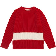 Marni Long Sleeve Jumper (7,415 THB) ❤ liked on Polyvore featuring tops, sweaters, bordeaux, longer sweater, red jumper, red long sleeve top, long sleeve sweater and ribbed crew neck sweater
