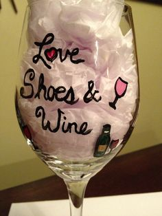 Love Shoes & Wine  hand painted wine glass  by WineFashionology, $15.00