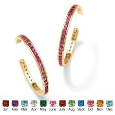 Round Simulated Birthstone 14k Yellow Gold-Plated Channel-Set Hoop Earrings- October- Simulated Rose Zircon Palm Beach Jewelry. $29.95