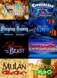 Disney Princess title screens