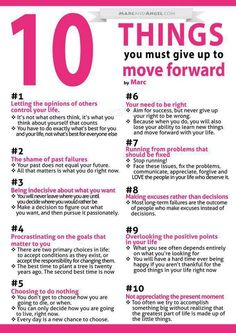 10 things you need to give up to move forward