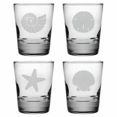 Seashore Double Old Fashioned Glass (Set of - Showcasing a hand-etched sea life motif. Glass Milk Bottles, Wine Glass Set, Etched Glass, Vintage Bee, Old Fashioned Glass, Highball Glass, Coastal Decor, Coastal Living, Condo Living