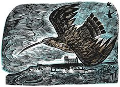 Curlew at Whitby by Angela Harding – available to buy online. Linocut Prints, Art Prints, Block Prints, Monochrom, Printmaking, Lion Sculpture, Fine Art, Artwork, Sketch Books