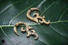 """Wood Earring Fake Gauge, Tribal """"Cagak"""" Faux Gauge Earrings, Tamarind Wood Fake Piercing W085-3 #fakegauge #etsymnt"""