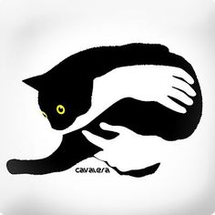 Cats in Art and Illustration: Cavalera Leaves Illustration, Black Cat Illustration, Space Illustration, Art Plastique, Crazy Cats, Stencil, Sketches, Drawings, Artwork