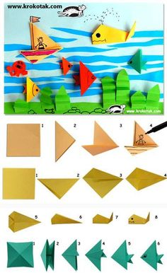 paper-fish-paper-origami-paper-fish More – Lily Black – – pez-de-papel-papiroflexia-origami-paper-fish More paper-fish-paper-origami – BuzzTMZ Origami Simple, Kids Origami, Origami And Kirigami, Origami Fish, Origami Paper, Origami Boxes, Dollar Origami, Origami Animals, Summer Crafts
