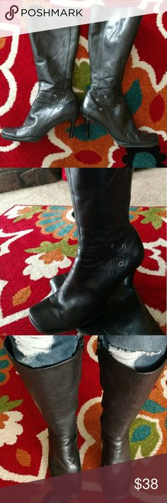 Nine West Knee High Boots Black Lightly worn but still gorgeous as ever!  Boots so soft they fit like a glove, very comfortable!!  It breaks my heart to part ways...I had a bad car accident several years ago, crushed my leg from pelvis to top of right foot so definitely will never wear any heels again, leg rebuilt from hardware. I put on these boots just to take pic so you can see how beautiful.  Please make me an offer and or bundle. My closet is ALWAYS negotiable and or OBO!!! Nine West…
