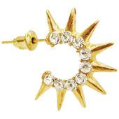 """1"""" Rhinestone C Hoops Hoop Earrings with Spikes in Crystal with Gold finish"""