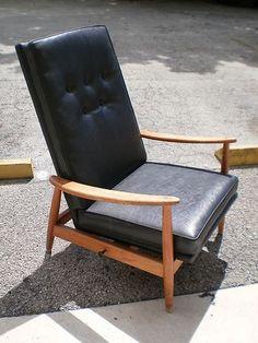 60u0027s Milo Baughman Era Danish Modern Reclining Chair | eBay & Milo Baughman Recliner 74 in Black Leather Modern DWR Design ... islam-shia.org