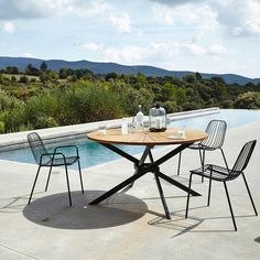 Bop Metal Chairs (Set of - Set of 2 Bop chairs. This comfortable chair is light and airy with a bold look that's equally at - Outdoor Dining Chair Cushions, Outdoor Tables, Outdoor Furniture Sets, Outdoor Decor, Used Chairs, Metal Chairs, Restoration Hardware Dining Chairs, Kitchen Chairs, Kitchen Dining